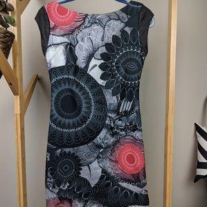 Desigual Cap Sleeve Short Dress with Mandala Print